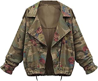 Wintialy World Women Camouflage Plus Size Jacket Loose Batwing Sleeve Loose Coat Outwear Tops