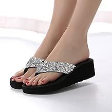 Hemlock Sequins Slipper Flip Flops, Women Bohemia Floral Beach Slippers Thongs Slippers Anti Slip Flip-flops (US:8, Silver)