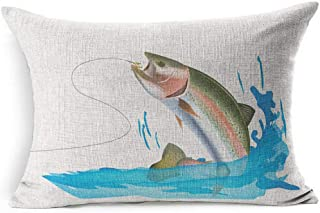 Ahawoso Linen Throw Pillow Cover 20x26 with Salmon Trout Capture Symbol Movement Fish Fishing Reel Animals Bait Wildlife Rainbow Water Pillowcase Home Decor Cushion Pillow Case