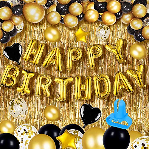 Happy Birthday Balloon,ibaye Black Gold Happy Birthday Balloons,Gold Foil Fringe Curtain,Heart Star Foil Confetti Balloons,Suitable for Kids, Boys, Girls, Men, Women of All Ages(39 Pcs)