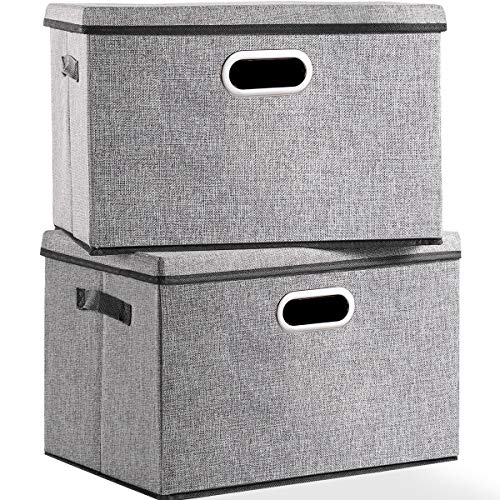 Large Foldable Storage Box with Lid [2-Pack] Linen Fabric Decorative Storage Bin Organizer Containers with Removable Lids Cover for Bedroom Closet Office Living Room