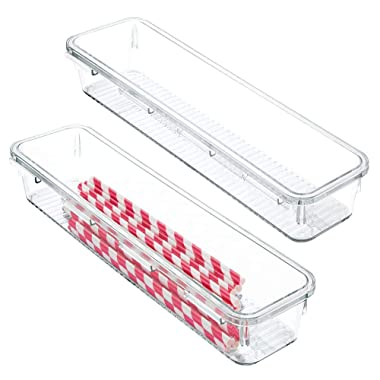 mDesign Kitchen Interlocking Drawer Organizers for Wooden Spoons, Spatulas, Whisks - Pack of 2, 3  x 12  x 2 , Clear