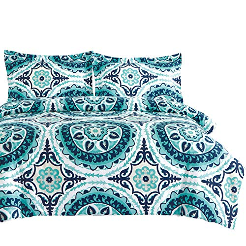 Wake In Cloud - Teal Duvet Cover Set, Turquoise Bohemian Boho Chic Mandala Medallion Printed on White, Soft Microfiber Bedding with Zipper Closure (3pcs, King Size)
