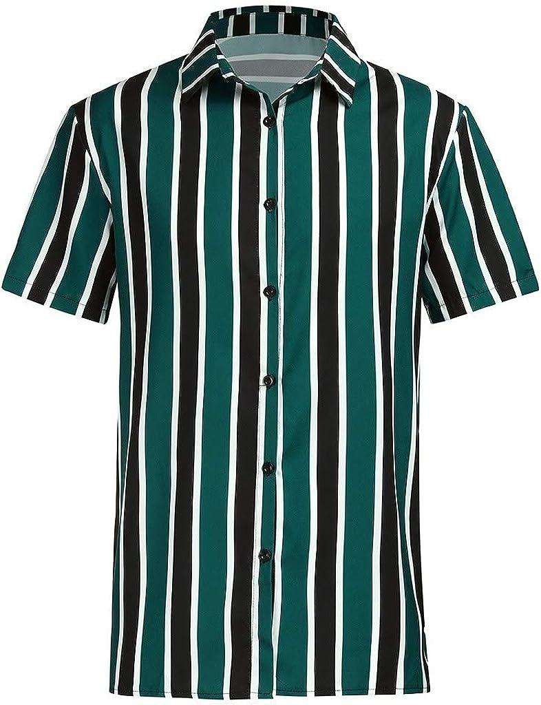 MODOQO Men's Shirt-Fashion Baggy Hawaiian Stripe Print Button Short Sleeve Tops Blouse