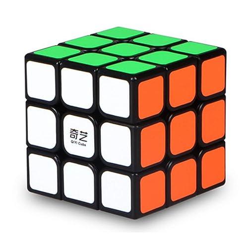 Agami 3x3 QiYi Black Thunderclap High Speed Rubiks Rubik's 3D Puzzle Rubix Rubic Cube(Black Base, Multi Colour)