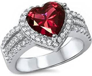 3ct Heart Shape Simulated Ruby & Cz .925 Sterling Silver Ring Sizes 5-11