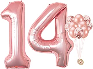 AULE 40 Inch Large 14 Balloon Numbers Rose Gold, Big Foil Number Balloons, Giant Helium Happy 14th Birthday Party Decorati...