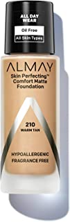 Almay Skin Perfecting Comfort Matte Foundation, Hypoallergenic, Cruelty Free, Fragrance Free, Dermatologist Tested Liquid Makeup, Warm Tan, 1 Fluid Ounce