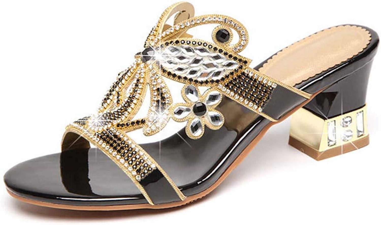 HRN Frauensandalen aus Strass-Leder mit mittelhohem Absatz und Diamanten Diamanten Diamanten sowie eleganten Sandalen und Hausschuhe für den Sommer,schwarz,38EU  4c9ff0