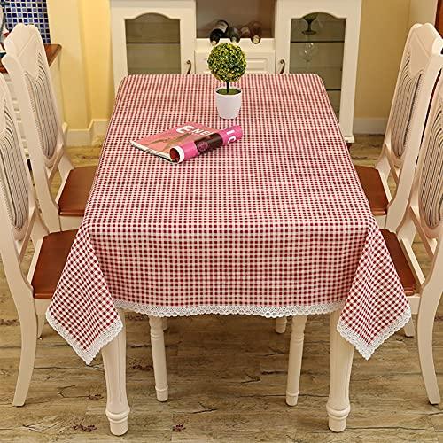 Rechthoekig katoenen linnen tafelkleed Zwaar klassiek tafelkleed Afwasbaar tafelkleed voor binnen en buiten,Red,140×180cm