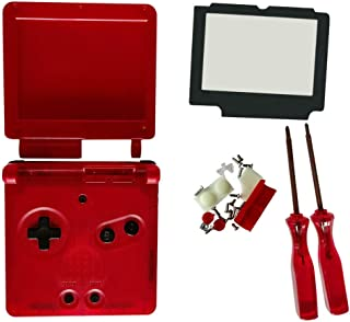 Meijunter Replacement Housing Shell Case for Gameboy Advance SP GBA SP Console, Transparent Clear Protective Cover with Gl...