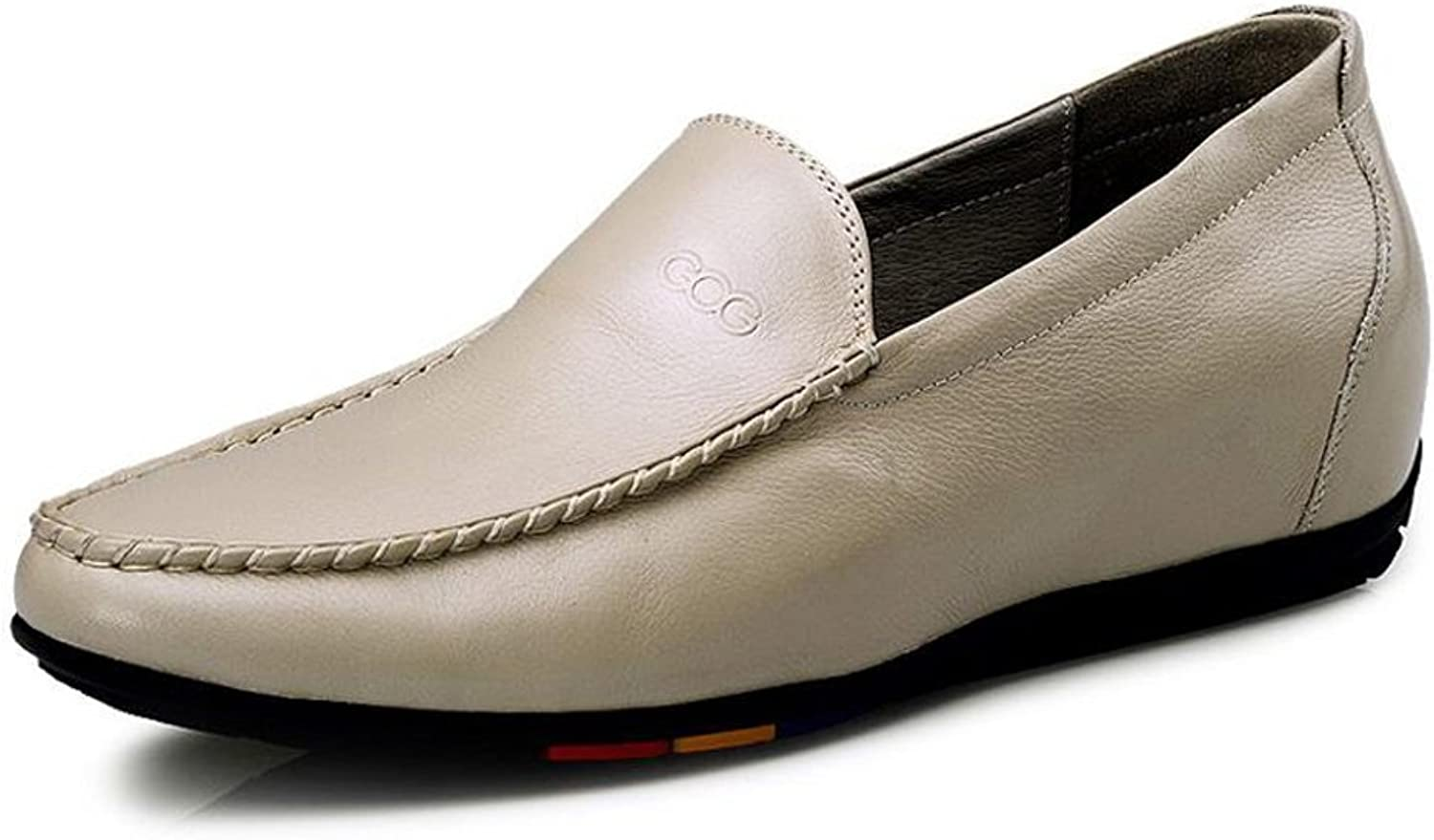 GG Men's White Soft Cow Leather 2.56 Inch Height Increasing Elevator Casual Driving shoes