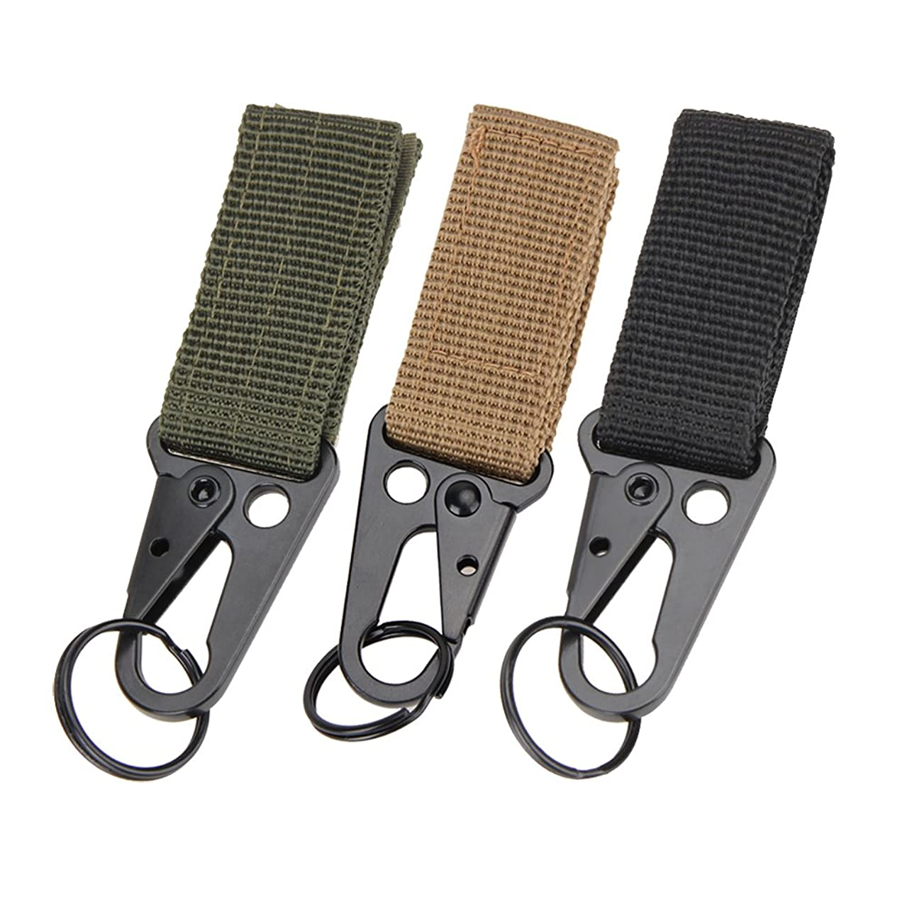 Tactical Gear Clip Web Nylon Belt Band Keeper Pouch Carabiner Standard Key Ring Holder Chain Quick Release Compatible for Outdoor Activities Hook with Molle Bags