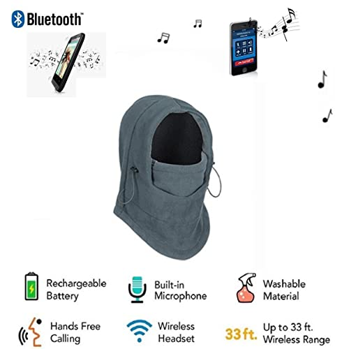 Veligoo Outdoor Balaclava Ski Full Face Mask Tactical Windproof Mask with Bluetooth Neck Warmer Mask Hat Wireless Hi-Fi Stereo Headphone