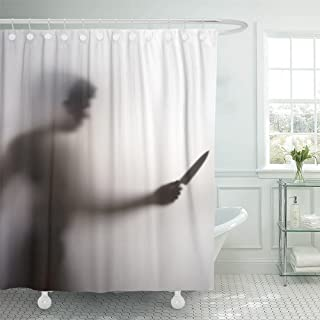 Emvency Horror Man Killer with Knife in Her Hand Behind Screen Blurry Shadow Stabbing Abstract Abuse Afraid Arm Waterproof Shower Curtain Curtains 72