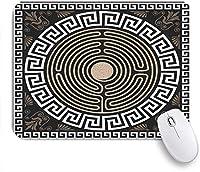 ECOMAOMI 可愛いマウスパッド 暗い背景のアンティークレトロな渦巻きのギリシャの主要なギリシャのフレットと波のパターン 滑り止めゴムバッキングマウスパッドノートブックコンピュータマウスマット