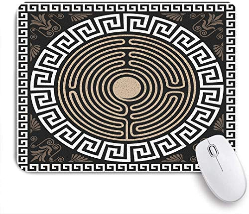 Marutuki Gaming Mouse Pad Rutschfeste Gummibasis,Griechischer griechischer Schlüsselbund und Welle auf dunklen antiken Retro-Strudeln,für Computer Laptop Office Desk,240 x 200mm