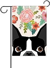 SmallGardenflagMim Boston Terrier Cute Flower Garden Flag, Custom Holiday Celebrate Garden Decor Flag,12