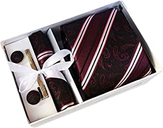MENDENG Men Burgundy Stripe Paisley Necktie Tie Clip Pocket Square Cufflinks Set