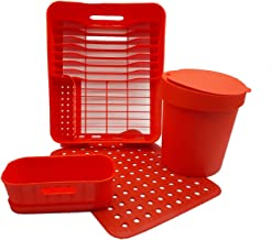 Kit Cozinha (escorredor + Organizador + Lixeira + Grade) Vermelha