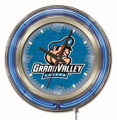 """Grand Valley State Lakers HBS Neon Blue College Battery Powered Wall Clock (15"""") image"""
