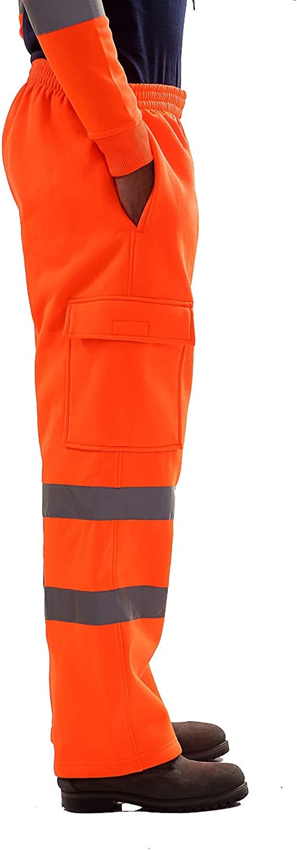 NEW MEN/'S HI VIS VIZ TROUSERS SAFETY WORK WEAR JOGGING BOTTOMS PANTS HOODIE TOP