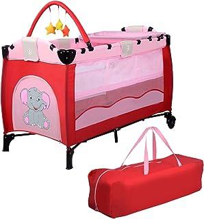 COSTWAY 3 in 1 klappbares Reisebett & Wickeltisch & Laufstall, Babybett bis 14kg belastbar, Kinderreisebett rollbar, inkl. Spielbogen, Wickelauflage und Tragetasche Rosa