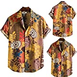 BLACKHEI Camisa hawaiana de verano de moda para hombres manga corta Vintage étnica Casual camisa, amarillo, XL