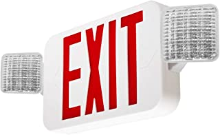 LFI Lights - UL Certified - Hardwired Red LED Combo Exit Sign Emergency Light - Self Testing - COMBORST2