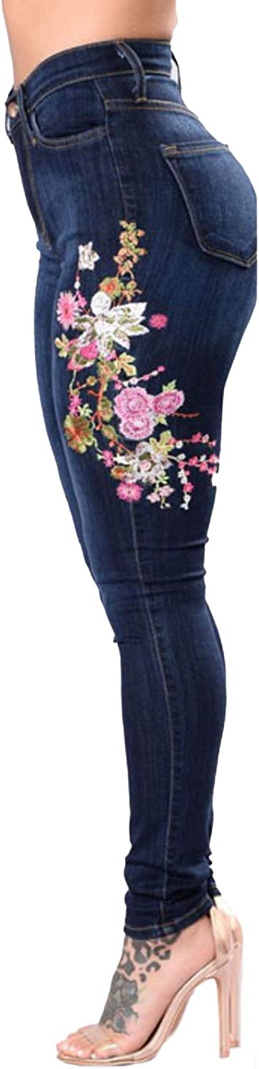 CcZbZ Women Fashion pink Embroidered HighElastic Skinny Jeans Denim Pencil Pants