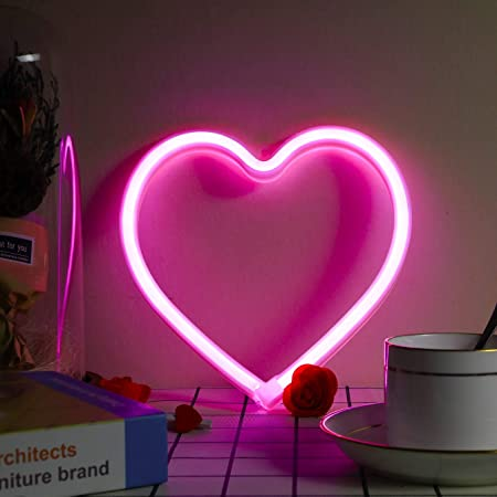 Heart Neon Sign, Battery Operated or USB Powered LED Neon Light for Party, Home Decoration Lamp, Table & Wall Decoration Light, Mother's Day Gift and Kids Gift
