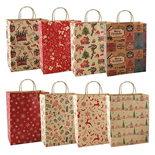 Bolsas de regalo de Navidad Kraft,16 piezas de papel de Navidad Retro Gift Goody Treat Candy Bags con asa,8 estilos Reutilizable Envoltura de regalos Bolsa regalo para Navidad