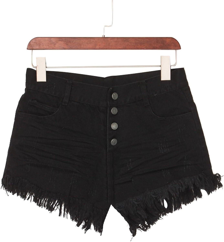 High waist casual wild tassel side denim shorts pants first fortune 2A2R105