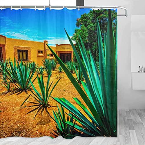 México Tequila Guadalajara cortina de ducha de viaje baño decoración conjunto con ganchos poliéster 72x72 pulgadas (YL-03950)