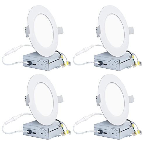 Hykolity 4 Pack 15W 6 inch Slim LED Recessed Light, 3 Colors Selectable Low Profile