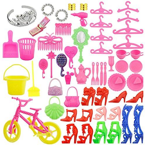 Kit Accessori Bambola per Barbie[55PCS],Beetest Barbie Accessori Tacchi Alti Anelli Borse Bici Cellulare Abbigliamento e Accessori da Gioco per Giocattoli Barbie Kids Regalo