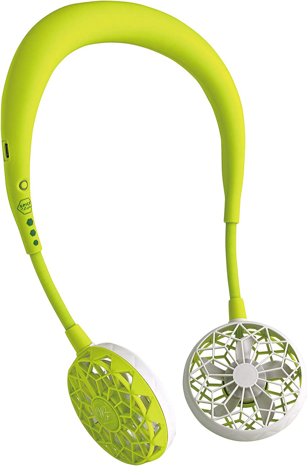 SPICE OF LIFE Portable Neck Fan - Hands-Free Wireless W Fan 2nd Edition, Light Green - 2000mAh USB Rechargeable Battery, 2.5 to 7 Hour Life, Flexible Arms, 3 Speed Settings, for Adults, Minimal Noise