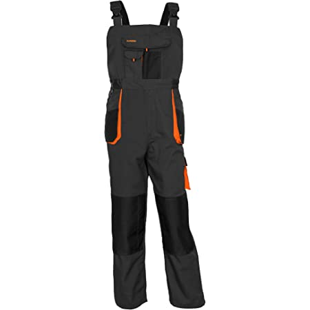 ArtMas Work Bib and Brace Overalls, Multipockets, Knee Reinforcement with Pocket for Knee Pad, Durable Triple Stitched Seams