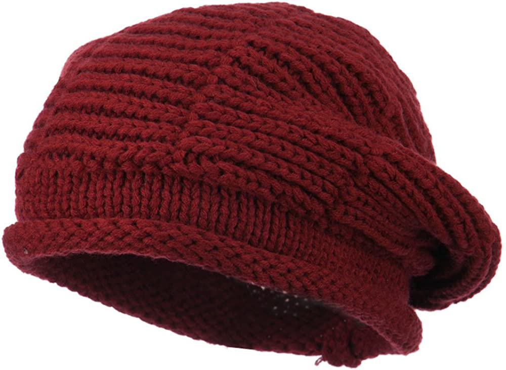 SS/Hat Ladies Cable Knit Beret - Burgundy