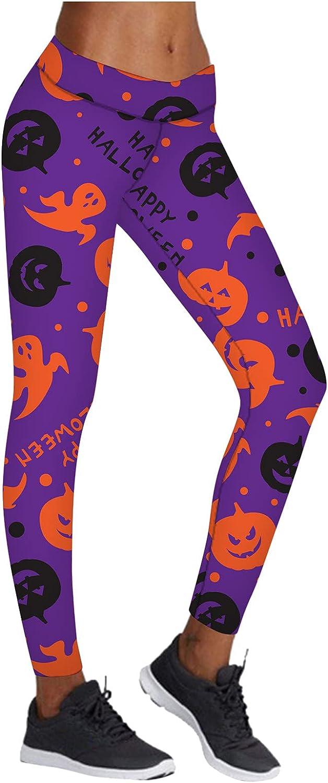YANG-YI Women's Pumpkin Print Purple Pants Elastic Stretchy Slim Fit Leggings High Waist Workout Trousers Bottoms