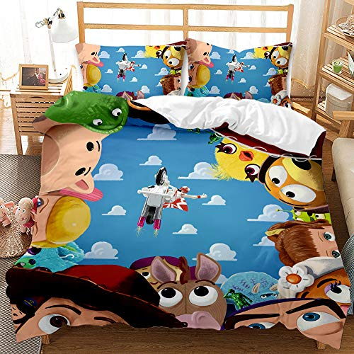 GD-SJK Disney 100% Polyester Cartoon Children's Bedding Set, Machine Wash, with Concealed Zip (Toy Story 04, Single: 135 x 200)