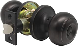 Privacy Door Knob Door Handle Thumb Turn Lock Inside for Bedroom or Bathroom with a Oil Rubbed Bronze Finish, with Removable Latch Plate, Reversible for Right or Left Side