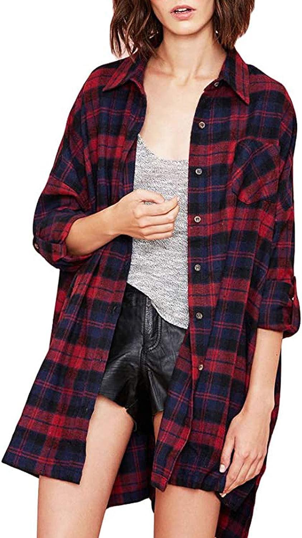 Zanzea Street Fashion Flannel Plaid Shirt Buffalo for Women Long Sleeve Check Button Down Tops Blouses