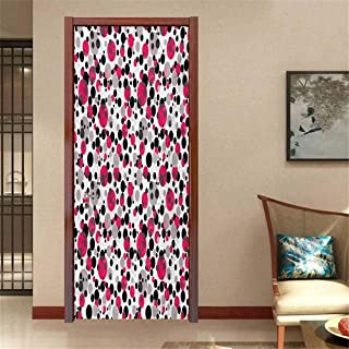 Pink and Grey 3D Photo Door Murals Bubbles Circle Dots Retro Style Abstract Round Grungy Nostalgic Image Easy to Clean and Apply Grey Pink Black W23.6 x H78.7 INCH