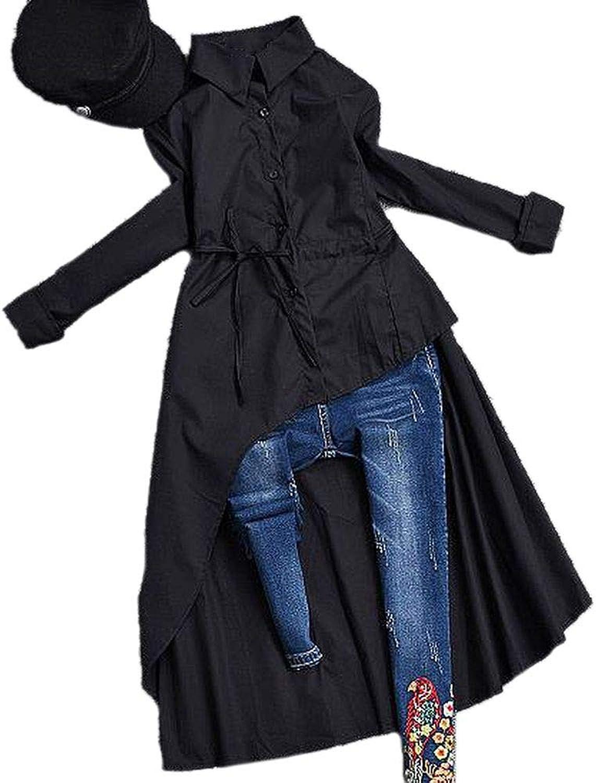 COOCOl Spring Autumn Women Long Sleeve Irregular Blouse Turn Down Collar Women Long Shirt