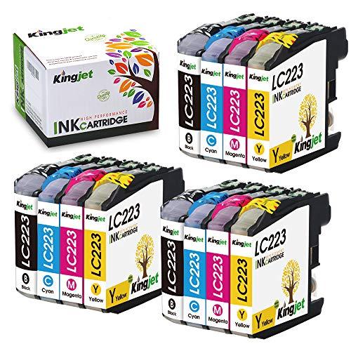 Kingjet 12 Pièces Cartouches d'imprimante Brother LC223 Compatibles pour Brother DCP-J4120DW DCP-J562DW MFC-J5320DW MFC-J4625DW MFC-J4620DW MFC-J5720DW MFC-J480DW MFC-J5620DW MFC-J4420DW MFC-J5625DW