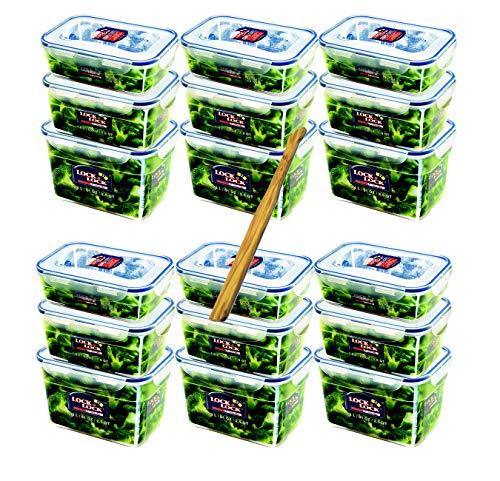 Lock&Lock Frischhaltedosen-Set gleiche Deckel 18-teilig (6X 1,2L-Box, 6X 1,8L-Box, 6X 2,4L-Box) stapelbar, leer ineinander schachtelbar und SeleXions Multifunktion Olivenholz Spachtel