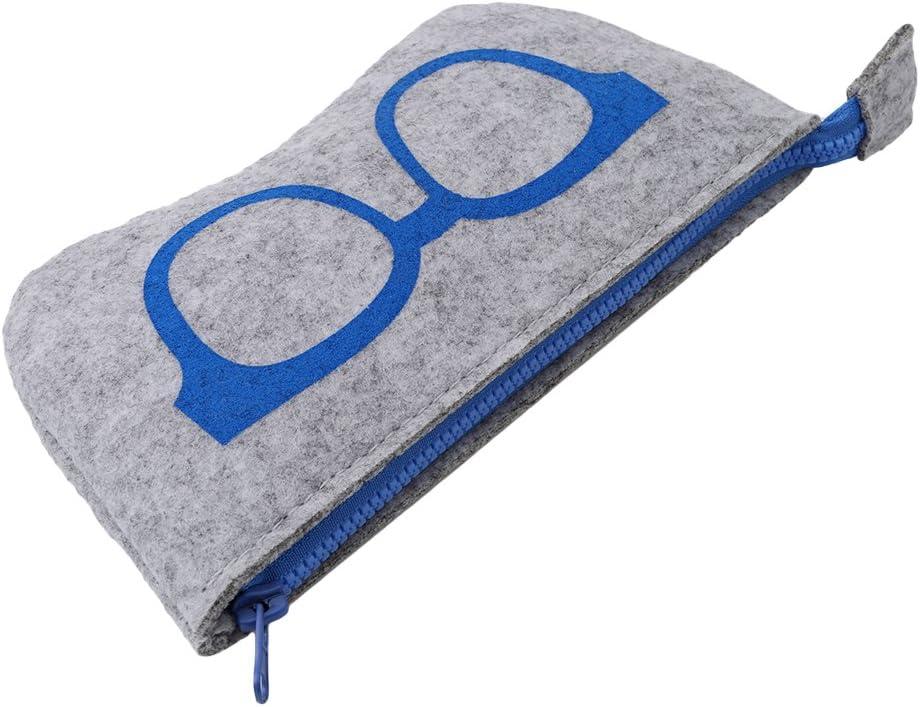 Meoliny Eyeglasses Bag Portable Soft Felt Zipper Pouch Sunglasses Organizer Case,Blue