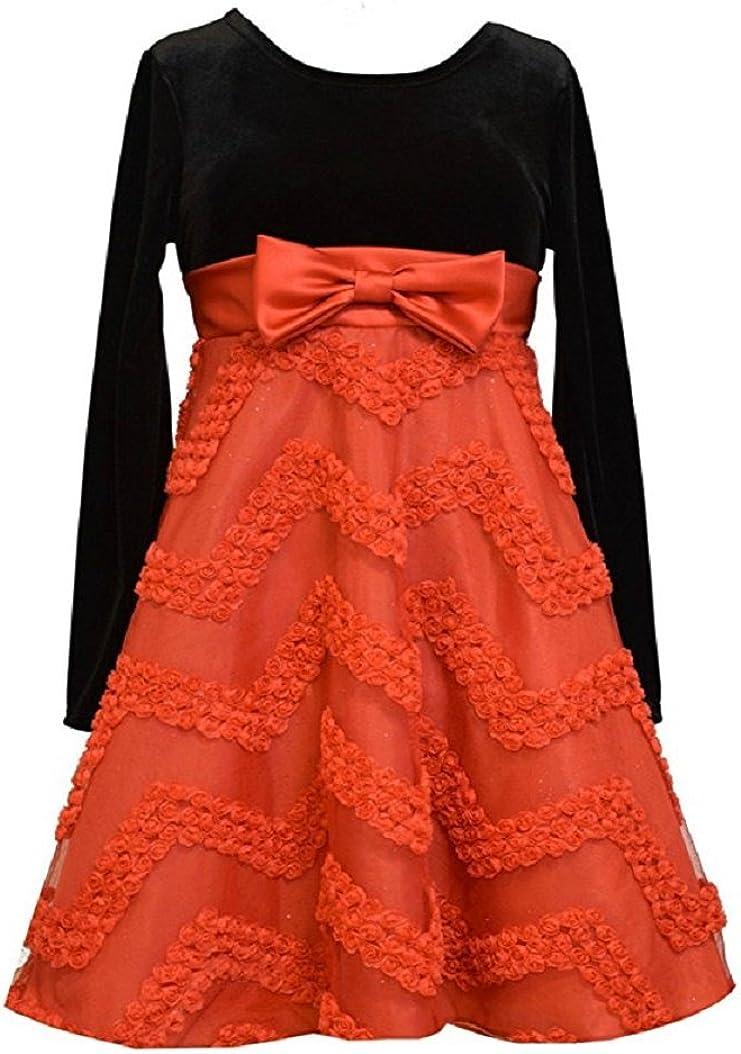 Bonnie Jean Big Girls Black Red Chevron Bonaz Party Dress