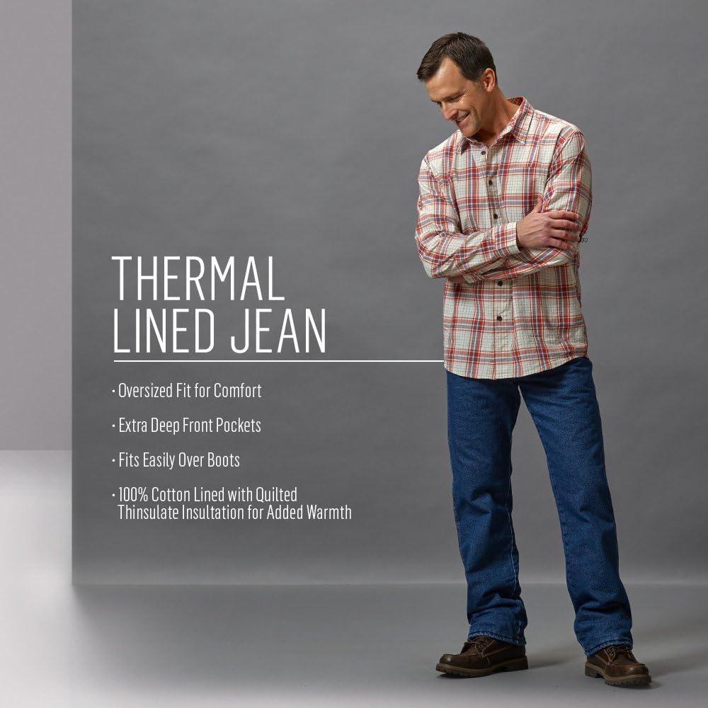 Wrangler Rugged Wear Woodland Jean thermique pour homme Marron Nuit.